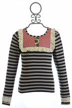 Mustard Pie Molly Top in Black Stripe