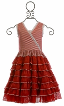 Mustard Pie Noel Dress for Girls in Red