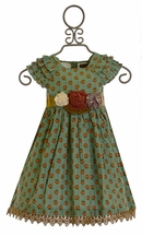 Mustard Pie Party Dress Green Delphine (18Mos,24Mos,5,6,12)