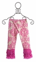 Mustard Pie Pink Damask Girls Legging with Lace