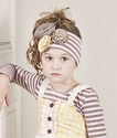 Mustard Pie Pink Stripe Girls Headband with Flowers