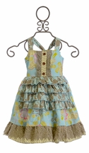 Mustard Pie Reagan Apron Dress for Girls with Ruffles (12Mos,2T,4)