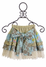 Mustard Pie Rosalyn Skirt in Sage Blue Geo (18Mos & 4)