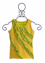 Mustard Pie Rowan Girls Tank in Yellow and Green (12 Mos & 18 Mos)