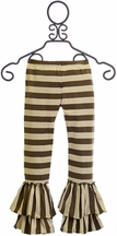 Mustard Pie Ruffled Striped Leggings for Girls