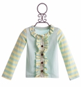Mustard Pie Stella Cardi in Turquoise Stripes (Size 18 Mos)