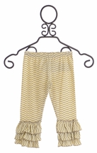 Mustard Pie Sweet Cream Chevron Ruffle Leggings (12Mos,18Mos,2T,10)