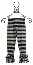 Mustard Pie Tango Triple Ruffle Legging in Black (24Mos,2T,4,8,10,12)
