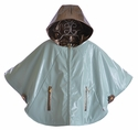 Oil and Water Reversible Rain Poncho for Girls in Aqua Leopard
