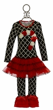 One Posh Kid Christmas Tutu Dress Set in Red and Black