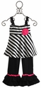 One Posh Kid Striped Girls Ruffle Pant Set
