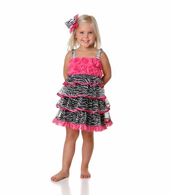 One Posh Kids Little Girls Zebra Ruffles Dress