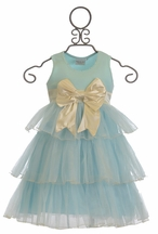 Ooh La La Couture 3 Tier Bow Dress in Ice Blue