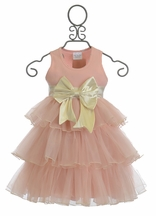 Ooh La La Couture 3 Tier Dress with Bow in Blush Pink