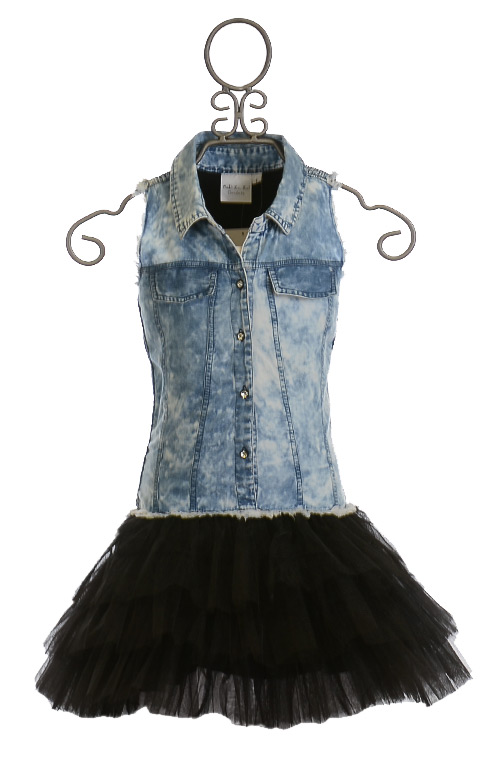 Ooh La La Couture Denim Shirt Dress With Black Skirt