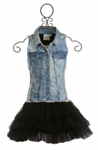 Ooh La La Couture Denim Shirt Dress with Black Skirt (4T,4,6X/7)
