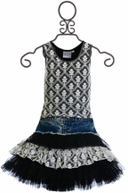 Ooh La La Couture Denim Skirt Set in Black