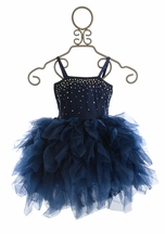 Ooh La La Couture Devin Navy Swarovski Dress High Low