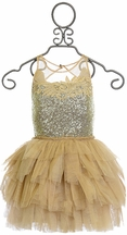 Ooh la la Couture Elegant Dress for Girls in Gold