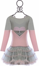 Ooh la la Couture Fancy Heart Dress in Gray and Pink