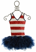 Ooh La La Couture Fourth of July Sequin Stripe Dress (12Mos,18Mos,24Mos,2T,4T)