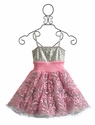 Ooh La La Couture Girls Birthday Dress in Silver and Pink
