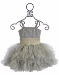 Ooh La La Couture Girls Frilly Dress in Silver and Champagne