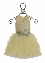 Ooh La La Couture Girls Lace Dream Dress Ivory and Silver