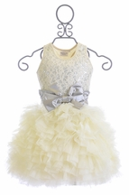 Ooh La La Couture Girls Lace Dream Dress Ivory and Silver (18Mos,24Mos,2T,5,8)