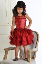 Ooh La La Couture Girls Red Shimmer Dress with Sequins (2T & 3T)