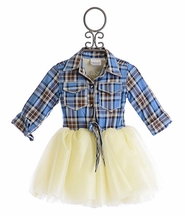 Ooh La La Couture Girls Shirt Dress Plaid and Ivory (Size 14)