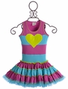Ooh La La Couture Girls Striped Twirly Dress with Heart