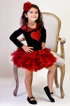 Ooh La La Couture Heart Dress for Girls in Red and Black (2T, 3T, 4, 14)