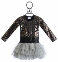 Ooh La La Couture Metallic Animal Print Girls Dress