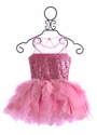 Ooh La La Couture Pink Sequin Dress for Girls with Tulle Neckline