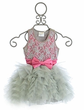 Ooh La La Couture Silver Lace Dream Dress with Hot Pink Bow