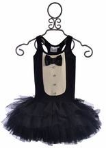 Ooh La La Couture Tuxedo Dress for Girls in Black and White (Size 18Mos)