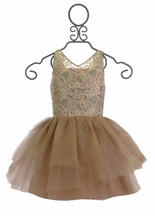 Ooh La La Couture V-Neck Wow Dress in Champagne and Rose Gold