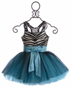 Ooh La La Couture Zebra Dress for Girls in Aqua