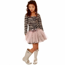 Ooh la la Couture Zebra Print Dress with Pink Tutu