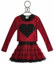 Ooh La La Couture Girls Red Dress in Flash Dance Heart - 12 Mos