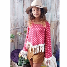 Over the Top Boutique Top for Tweens with Fringe in Red