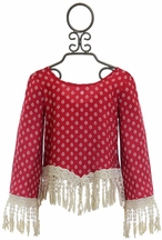 Over the Top Boutique Top for Tweens with Fringe in Red (10,12,14)