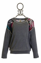Over The Top Chiffon Floral Sweater in Gray