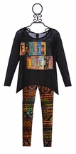 Over The Top Girls Hanky Hem Top and Leggings in Love with Aztec (Size 8)