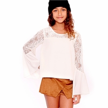 Over Top Lace Ivory Top Tweens with Bell Sleeve