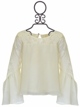 Over the Top Lace Ivory Top Tweens with Bell Sleeve (7,10,12,14)