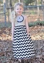 Owls and Bats Chevron Maxi Dress for Girls