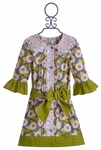 Owls and Bats Floral Button-Up Dress for Girls