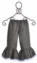 Owls and Bats Girls Ruffle Capri Linen Gray